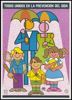 view A couple holding umbrellas with 3 children before them against a floral background; an AIDS prevention advertisement by OPL-Sida. Colour lithograph by Luis J. Querecuto, ca. 1995.
