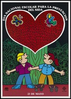 view Two children, one on roller-skates, look up at a red heart above a green tree trunk with a butterfly and a bird; an advertisement for National School AIDS Prevention day on 23rd May by OPL-Sida. Colour lithograph, ca. 1995.
