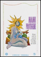 view A naked woman with extending yellow hair with a baby in her womb illustrated with white stars and a flower; a warning to women to protect their babies from AIDS by the Oficina Para la Prevencion y Lucha Contra el Sida and Organization Panaermicana de la Salud. Colour lithograph by Marco Caamaño, 1994.