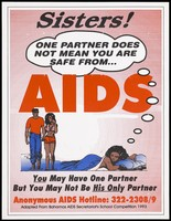 view A couple walking in water with another woman lying down representing a warning that having one partner cannot prevent AIDS alone with an AIDS Hotline; issued by the AIDS Secretariat of the Bahamas. Colour lithograph, ca. 1993.