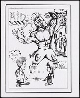 view A man flexing his muscles with two faces and a baby visible in his legs with figures performing gymnastics, a man with 2 women and a couple; one of 4 drawings by students of C. C. Sweeting Senior High School, Nassau, Bahamas for World AIDS Day, November 1993. Photocopy reproduced from a drawing, 1993.