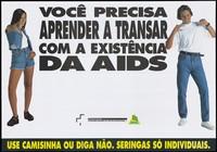 view A woman and a man make gestures advertising safe sex to prevent AIDS. Colour lithograph for the Ministério da Saúde, Brazil, Programa Nacional de controle das DST/AIDS, ca. 1995.