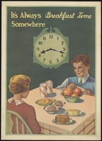 view A boy and a girl sitting at the breakfast table, with a changeable clock face behind and slots for food on the table. Colour lithograph after Dorcy, 1935.