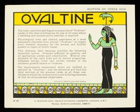"""view Ovaltine : the tonic, nutritive and digestive properties of """"Ovaltine"""" render it the ideal combination for use in all cases where a building and reconstructive nutrient is required / A. Wander Ltd."""