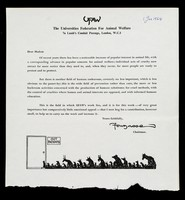 view UFAW : The Universities Federation for Animal Welfare, 7a Lamb's Conduit Passage, London, W.C.1 : dear Sir or Madam ... / Fougasse.