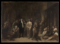 view Salpêtrière hospital, Paris: Philippe Pinel freeing the insane from their chains. Oil painting by T. Robert-Fleury, ca. 1876.