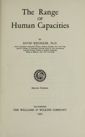 view The range of human capacities / by David Wechsler.