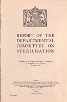 view Report of the Departmental Committee on Sterilisation.
