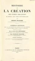 view Histoire de la création des êtres organisés d'après les lois naturelles