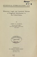 view Historical, legal and statistical review of eugenical sterilization in the United States / by Harry H. Laughlin.