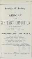 view Report on the sanitary condition of the Hackney District for the year 1902.