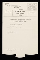 view Moorland Indigestion Tablets : May bonus, 1954 : order ... / W.B. Cartwright Ltd.