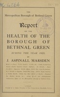 view [Report on the health of the Borough of Bethnal Green during the year 1925].