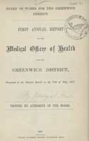 view [Report of the Medical Officer of Health for Greenwich District].