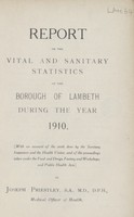 view [Report of the Medical Officer of Health for Lambeth, Metropolitan Borough of].