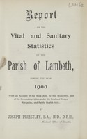 view [Report of the Medical Officer of Health for Lambeth, The Vestry of the Parish of].