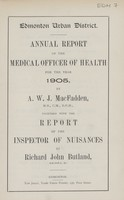view [Report of the Medical Officer of Health for Edmonton].