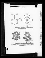 """view Copy of a printed molecular diagram and Fourier map showing Patterson function of salicylic acid referenced as """"salicylic acid Patterson"""""""