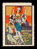 view British Red Cross Society 1914 : [nurse kneeling with Britannia [?] behind her].