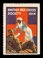 view British Red Cross Society 1914 : [nurse bending over soldier lying on the ground].