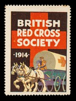 view British Red Cross Society 1914 : [man in uniform driving horse-drawn ambulance wagon].