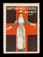 view British Red Cross Society 1914 : [nurse with arms stretched out from her sides].