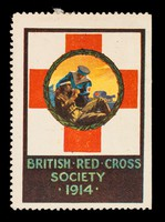 view British Red Cross Society 1914 : [a man in naval uniform [?] attends a soldier lying on the ground, a horse-drawn ambulance in the background].