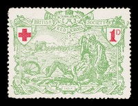 view British Red Cross Society : 1D :  [Britannia supporting a wounded soldier lying on the battlefield, a horse-drawn ambulance approaches].
