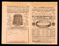 view Electricity in failing health : men and women of all ages, and in all stations of life should stop taking poisonous medicines & drugs & simply wear Dr. Carter Moffat's cool feather-weight electric body belt ...