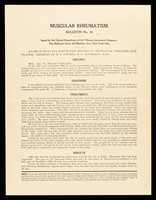 view Bulletin. No. 30, Muscular rheumatism / Clinical Department of The Vibrator Instrument Company.