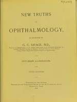 view New truths in ophthalmology / as developed by G. C. Savage.