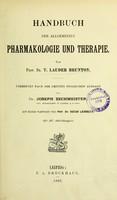 view Handbuch der allgemeinen Pharmakologie und Therapie / von T. Lauder Brunton ; übersetzt nach der dritten englischen Ausgabe von Joseph Zechmeister.