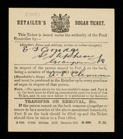 view Retailer's sugar ticket / [Ministry of Food].