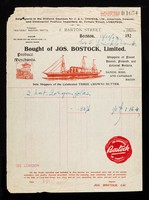 view Bought of Jos. Bostock, Limited : produce merchants ... sole shippers of Three Crowns Butter.