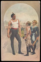 view A strongman wearing a white vest and beret is admired by a boy and a girl. Colour process print, 1911.