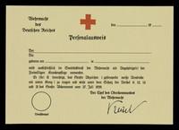 view Personalausweis : Der / Die ... geboren am ... in ... wird ausschließlich im Sanitätsdienst der Wehrmacht als Angehörige(r) der Freiwilligen Krankenpflege verwendet ... / Wehrmacht des Deutschen Reiches.