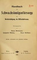 view Handbuch der Schwachsinnigenfürsorge mit Berücksichtigung des Hilfsschulwesens / Hrsg. von Hans Bösbauer, Leopold Miklas, Hans Schiner.
