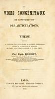 view Des vices congénitaux de conformation des articulations / Par Alph. Robert.