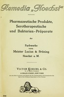 """view Remedia """"Hoechst"""" : pharmazeutische Produkte, Serotherapeutische und Bakterin-Präparate / der Farbwerke vorm. Meister Lucius & Brüning Hoechst a. M."""