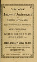 view Catalogue of surgeons instruments and medical appliances : Electro-therapeutic apparatus. Sundries for the surgery and sick-room, medicine chests, etc.