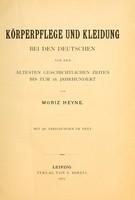 view Körperpflege und Kleidung bei den Deutschen von den ältesten geschichtlichen Zeiten bis zum 16. Jahrhundert
