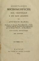 view Osservazioni microscopiche sul cervello e sue parti adjacenti / di Antonio Barba.