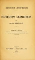 view Identification anthropométrique / instructions signalétiques par Alphonse Bertillon.
