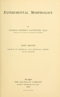 view Experimental morphology / by Charles Benedict Davenport.