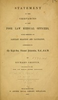 view Statement of the grievances of the poor law medical officers : with remarks on sanitary measures and vaccination, addressed to the Right-Hon. Viscount Palmerston ... / by Richard Griffin.