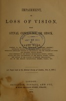 view Impairment, or loss of vision, from spinal concussion, or shock / by Jabez Hogg.