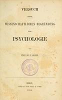 view Versuch einer wissenschaftlichen Begründung der Psychologie / von Prof. dr. P. Jessen.