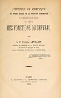 view Histoire et critique des progr rlis par la physiologie expimentale et la mhode anatomo-clinique dans l'ude des fonctions du cerveau.
