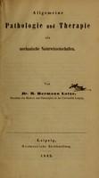 view Allgemeine Pathologie und Therapie als mechanische Naturwissenschaften / von R. Hermann Lotze.