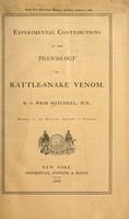 view Experimental contributions to the toxicology of rattle-snake venom / by S. Weir Mitchell.